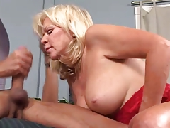 Hot Blonde Mature Cougar Bangs Mover